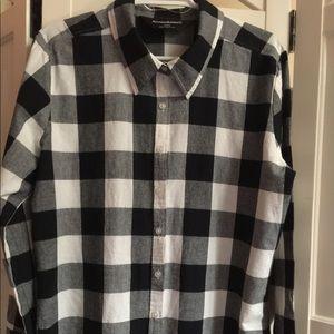 Norma Kamali B & W check front button cuffed shirt